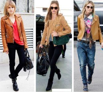 С какво може да носите кафяво или бежаво кожено яке?